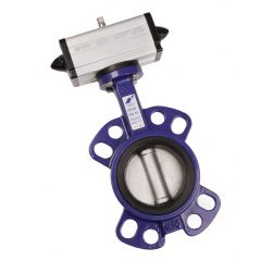 Omal Cast Iron Wafer Butterfly Valve and Double Acting Pneumatic Actuator - Zoedale Ltd - Supplier of Valves, Actuators and Flow Control Equipment