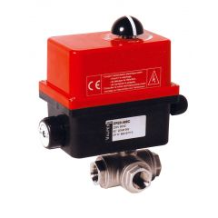 Three Way Brass Ball Valve and Valpes Actuator - Zoedale Ltd - Supplier of Valves, Actuators and Flow Control Equipment