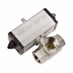 Omal double acting actuated 3 way L ported brass ball valve - Zoedale Ltd - Supplier of Valves, Actuators and Flow Control Equipment