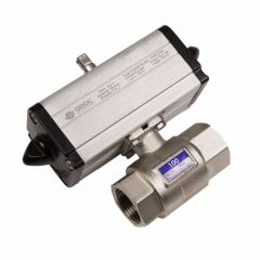 Omal Double Acting Pneumatic Actuator and 2 Way Low Pressure Brass Ball Valve - Zoedale Ltd - Supplier of Valves, Actuators and Flow Control Equipment